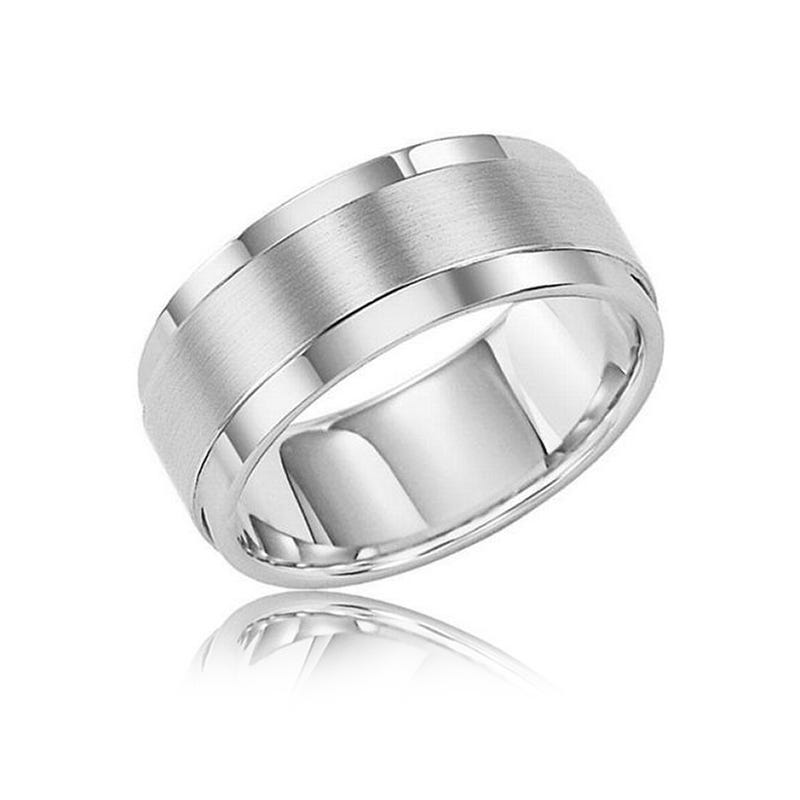 Triton Men's White Tungsten Wedding Band