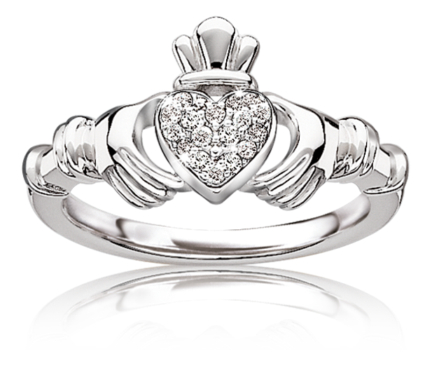 Diamond Irish Claddagh Ring in Sterling Silver