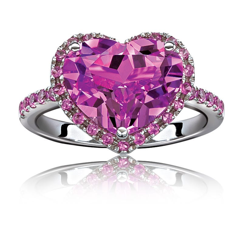 Pink Created Sapphire Halo Heart Ring in Sterling Silver