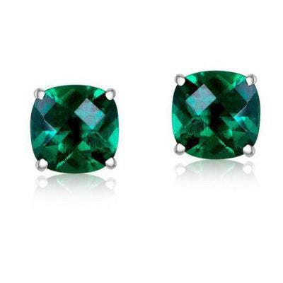 Created Emerald Cushion-Cut Stud Earrings in Sterling Silver
