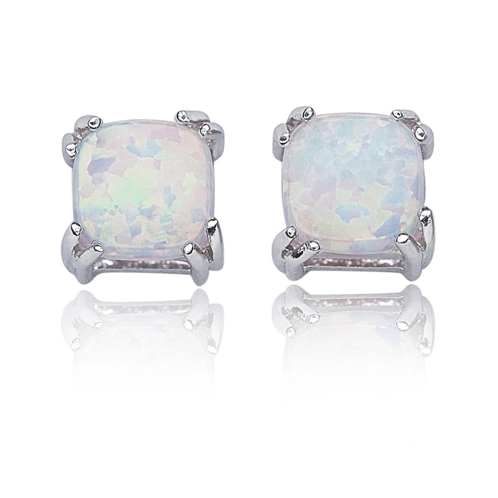 Created Opal Cushion Stud Earrings in Sterling Silver