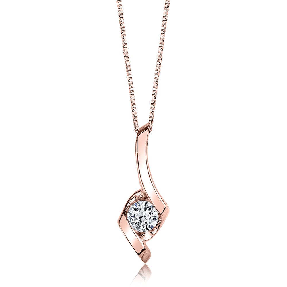 Sirena Diamond Classic Solitaire Pendant in 14k Rose Gold