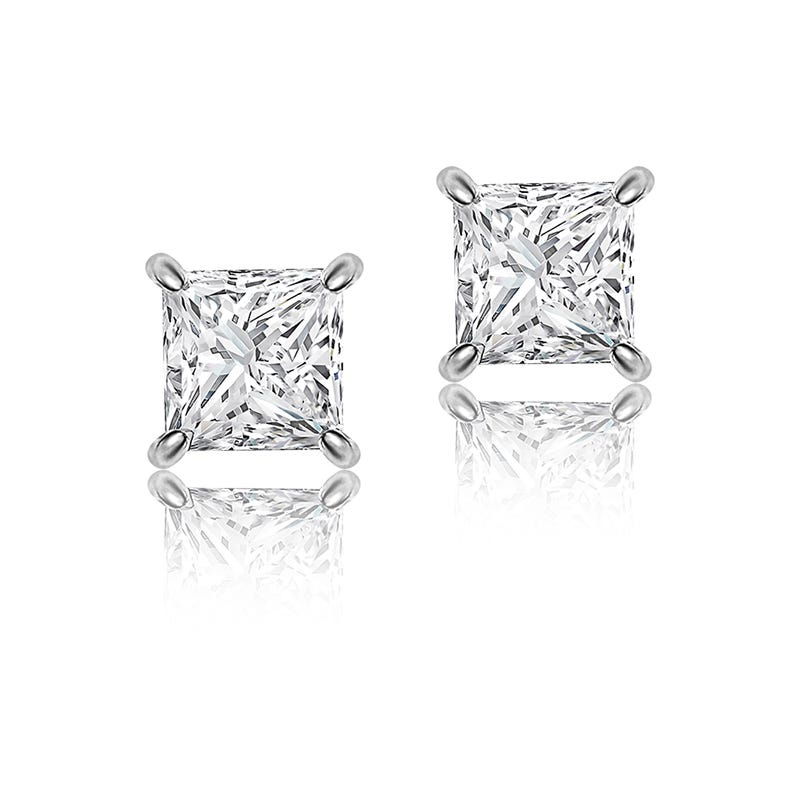 Princess-Cut Diamond Solitaire Earrings 1/3ctw. in 14k White Gold