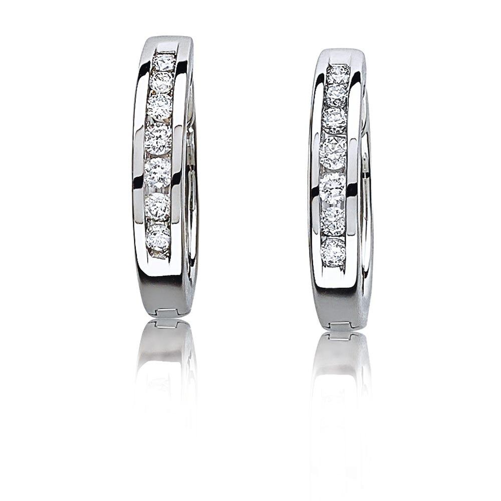 Channel-Set Round Diamond Hoop Earrings ¼ctw. in 10k White Gold