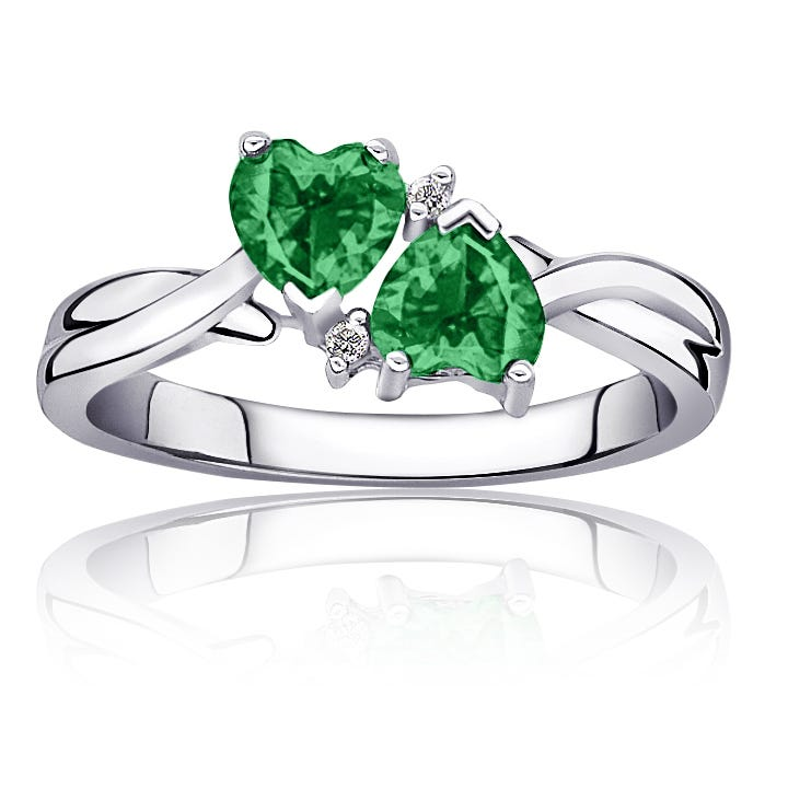 Emerald Created Double Heart Diamond Ring in Sterling Silver