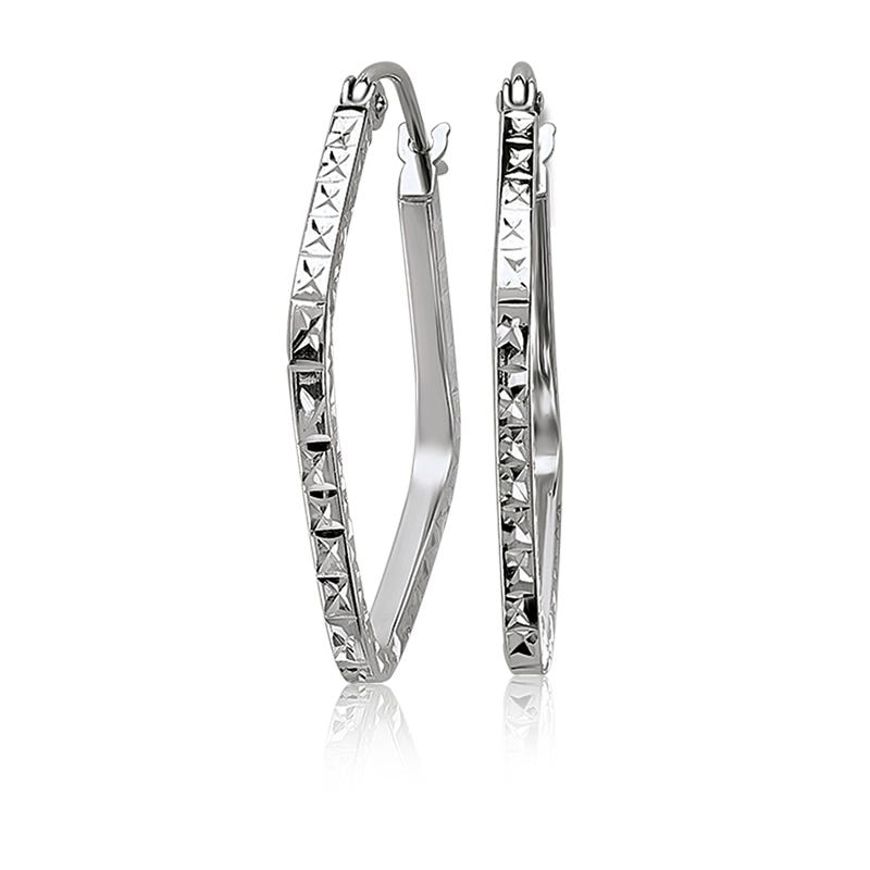 Diamond-Cut Square Hoop Fashion Earrings