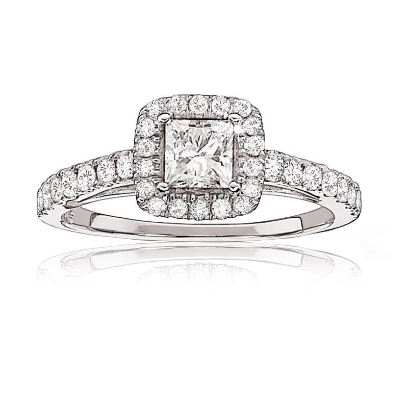 Canadian Diamond 1ctw. Princess-Cut Diamond Engagement Ring 14k White Gold