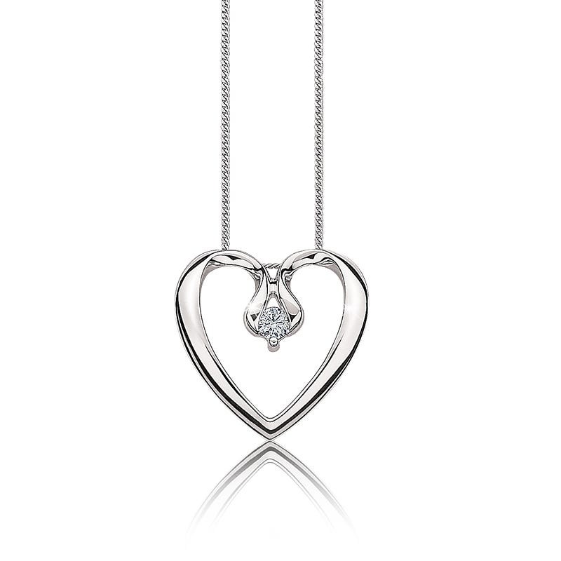 Canadian Diamond Diamond Heart Pendant in 10k White Gold