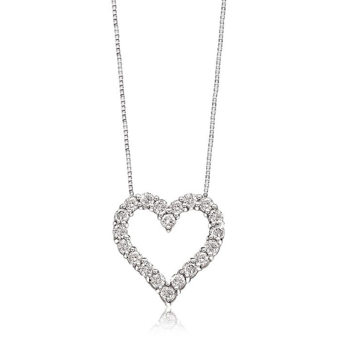 Diamond 1/10ctw. Heart Pendant in 10k White Gold
