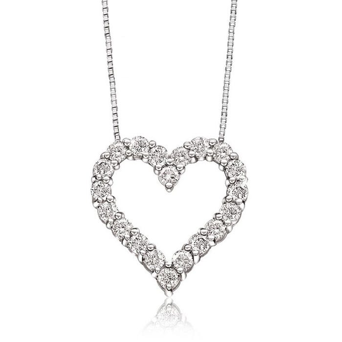 Diamond ¼ctw. Heart Pendant in 10k White Gold