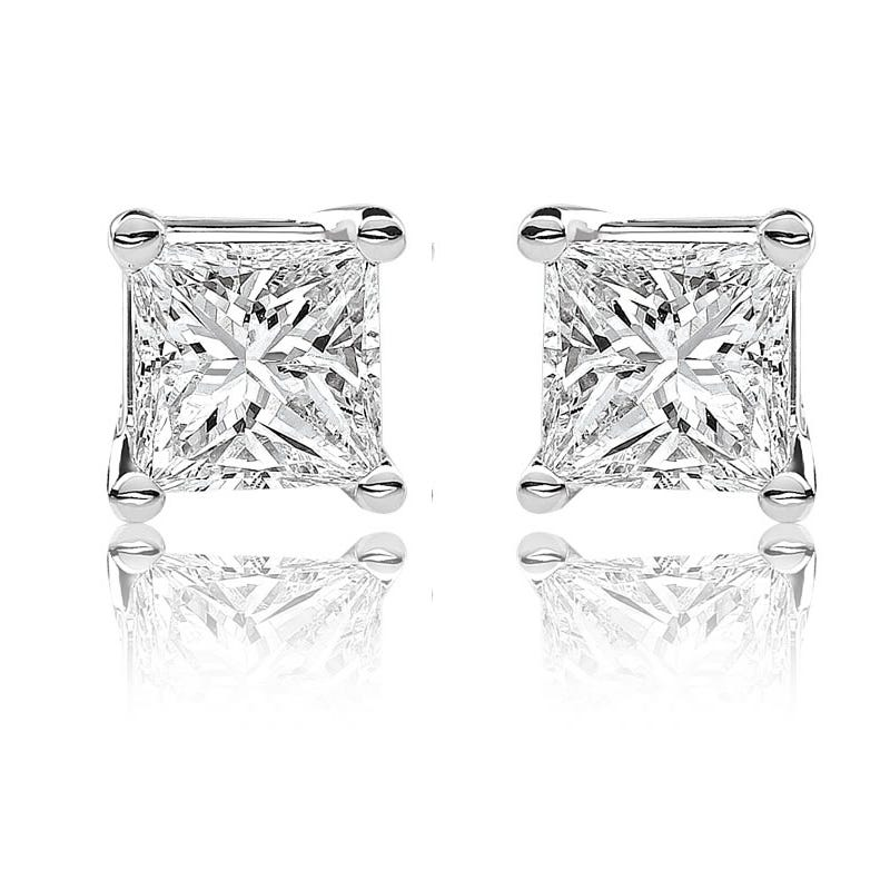 Canadian Diamond™ 1ctw. Princess-Cut Diamond Earrings in 14k White Gold