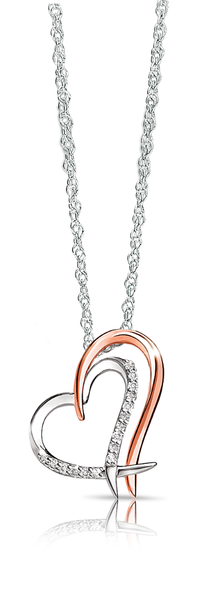 Diamond Double Heart Pendant in 10k White & Rose Gold