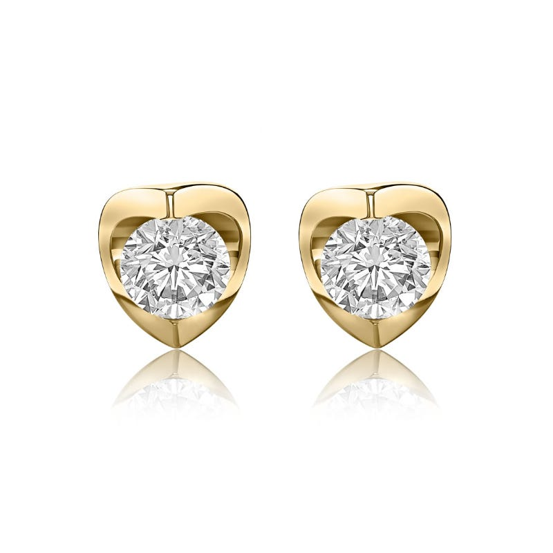 Canadian Diamond 1/4ct. tw. Solitaire Earrings in 14k Yellow Gold