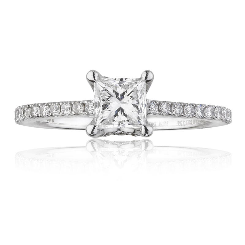 Canadian Diamond 7/8ctw. Princess-Cut Diamond Pavé Engagement Ring in 14K White Gold