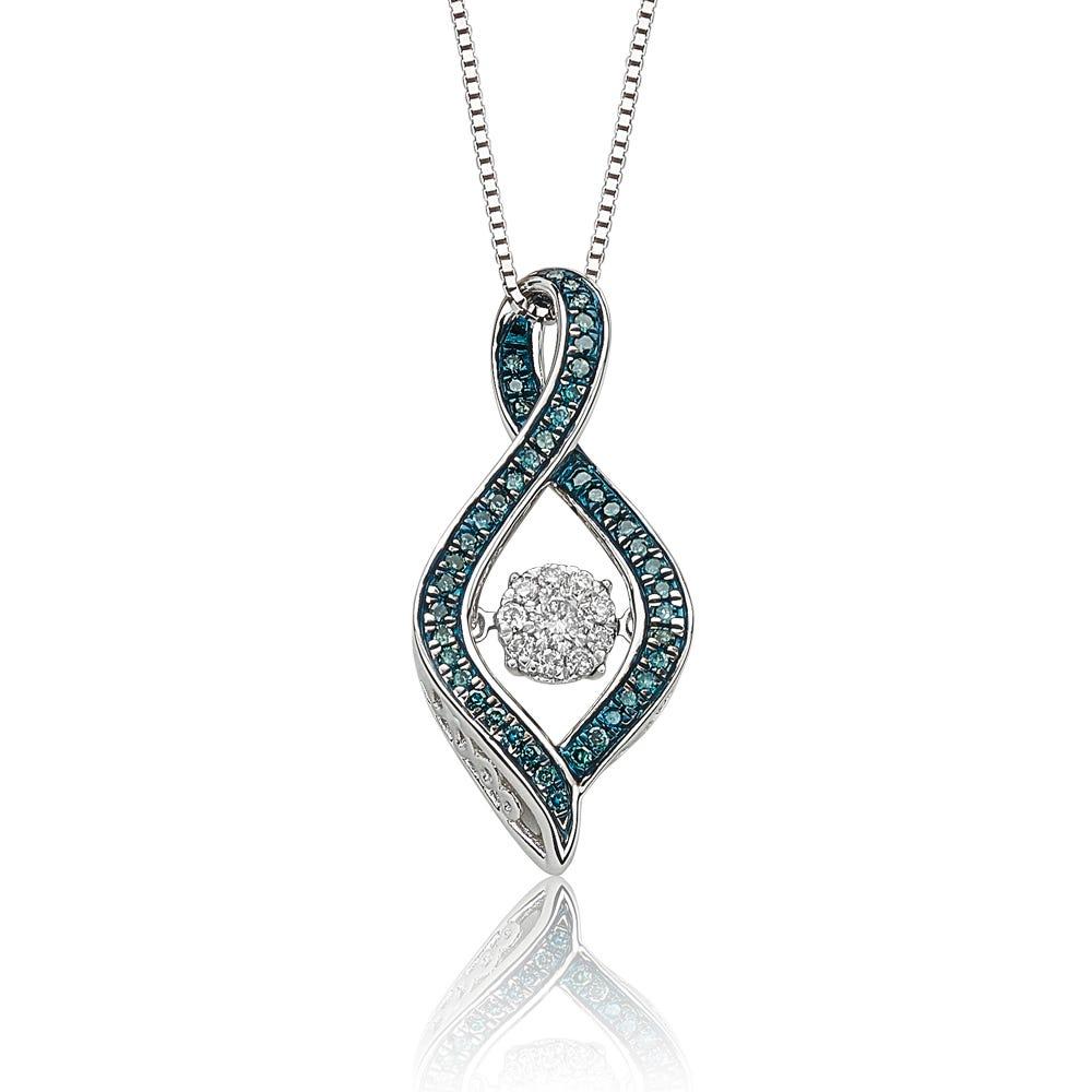 Beats of Love: Blue & White Diamond Twist Teardrop Pendant
