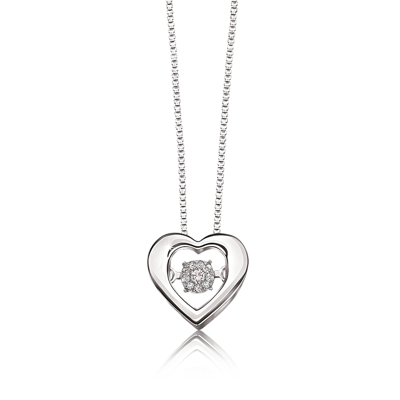 Diamond Beating Motion Heart Pendant in Sterling Silver
