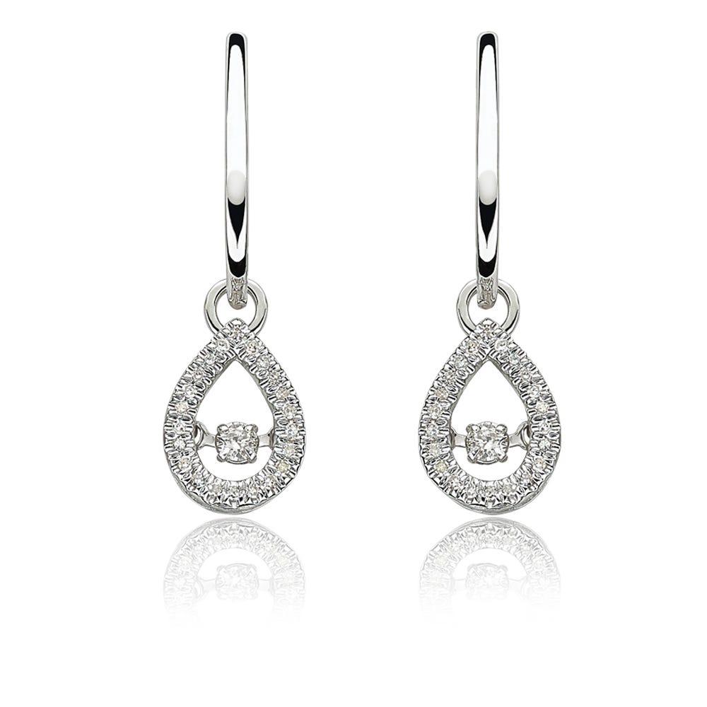 Beats of Love: Diamond Pear Dangle Earrings in 10k White Gold