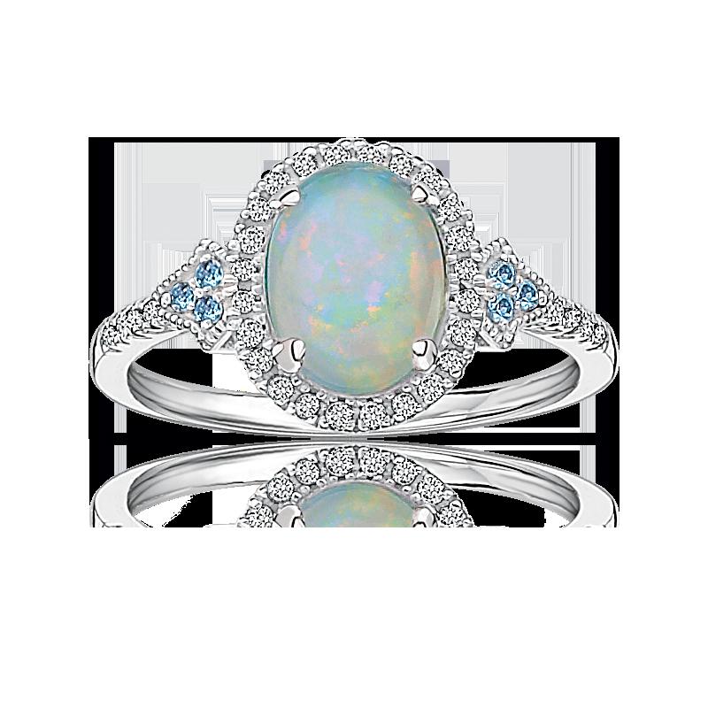 Oval Created Opal, Diamond & Blue Topaz Ring in 10k White Gold