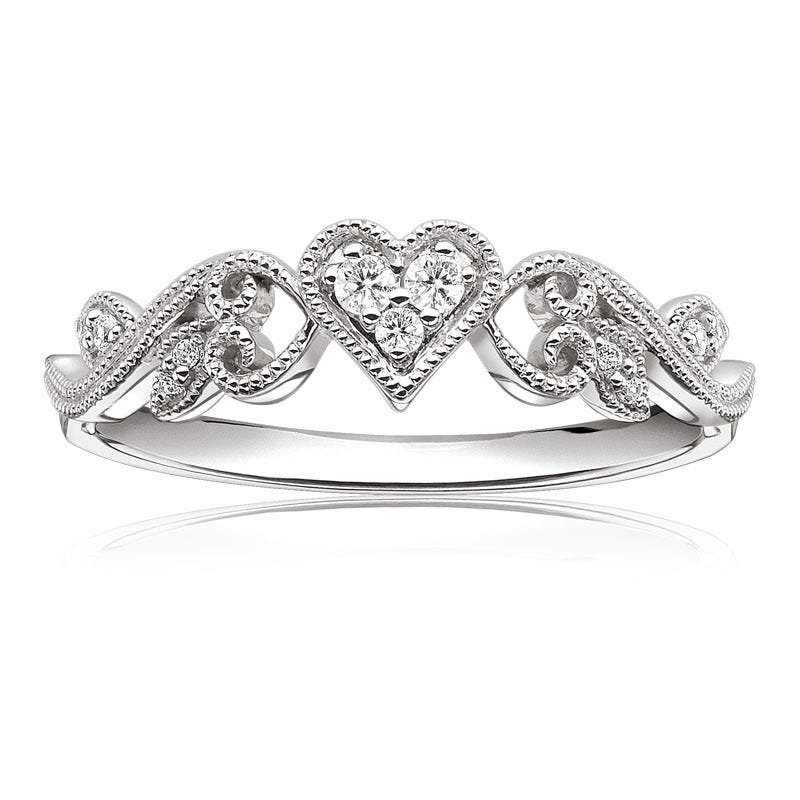 Diamond Heart Scroll Design Promise Ring in 10k White Gold