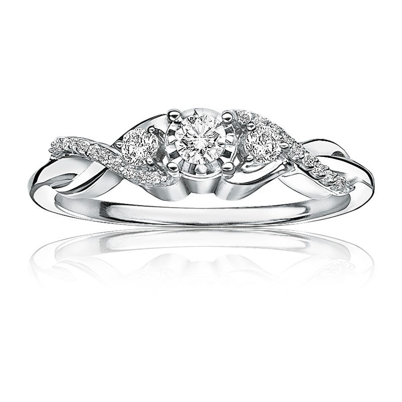 Diamond Three-Stone ¼ctw. Promise Ring in White Gold