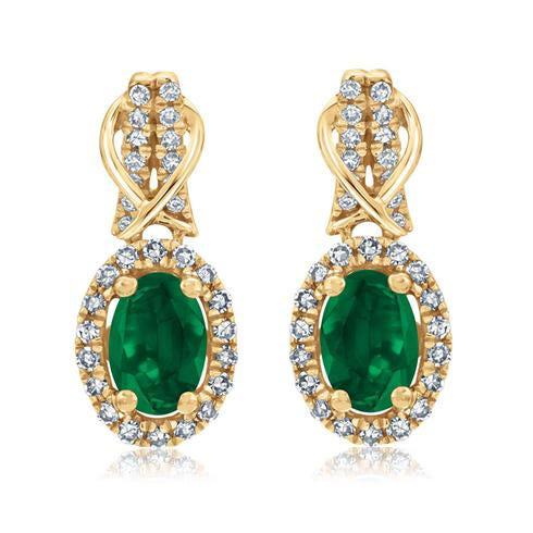 Emerald & Diamond Halo Drop Earrings in 10k Yellow Gold