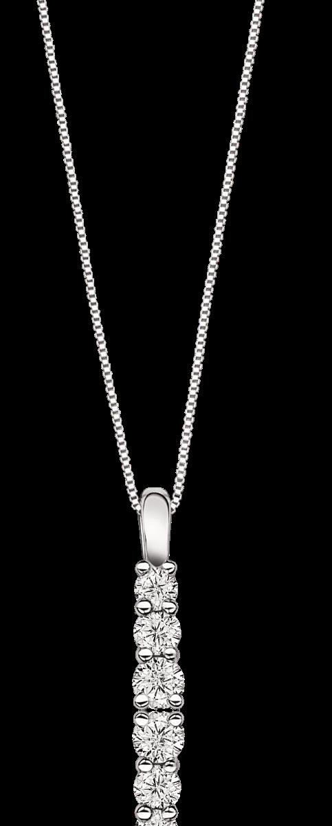 Three-Stone ¼ctw Diamond Pendant in 10k White Gold