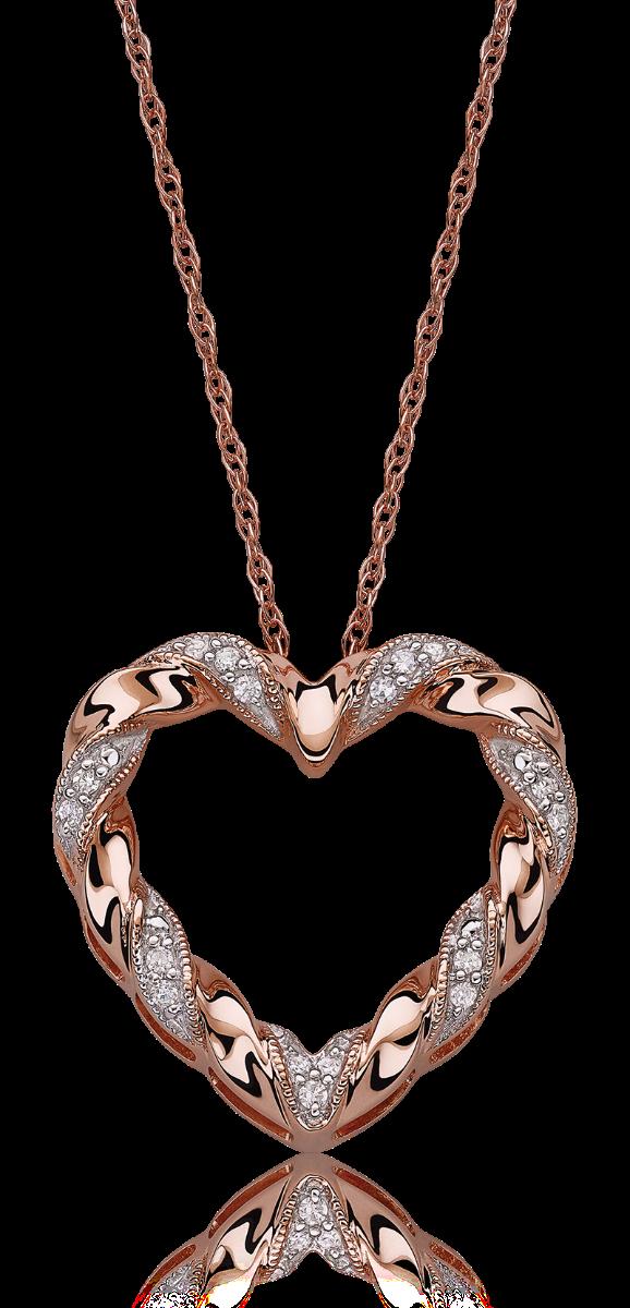 Diamond Heart Ribbon Twist Pendant 10k Rose Gold