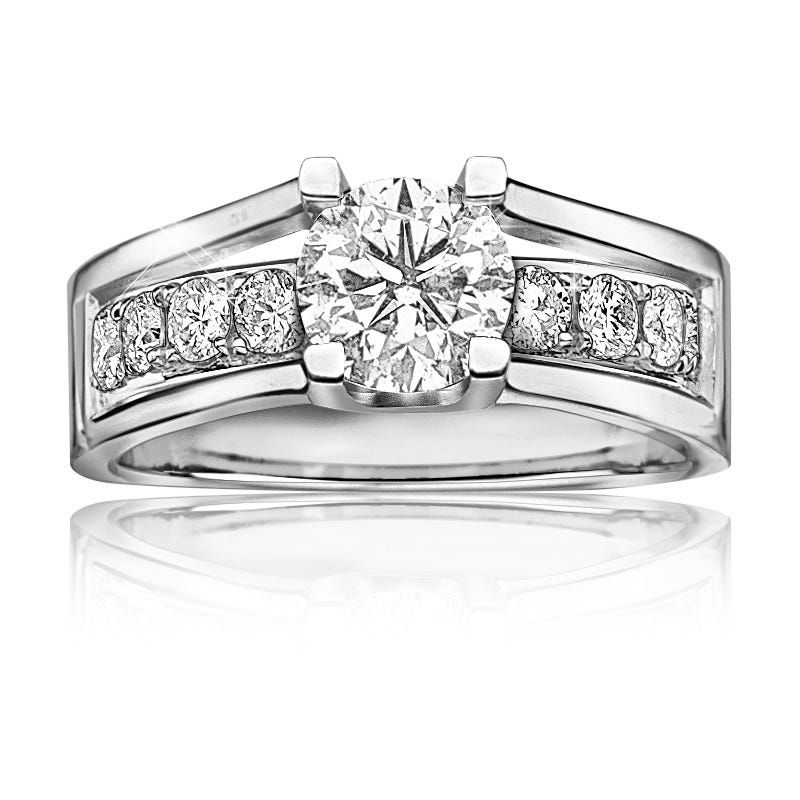 London. Canadian 3/4ctw. Diamond Engagement Ring in 14k White Gold