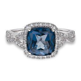 JK Crown: Blue Topaz & Diamond Halo Ring in 10k White Gold