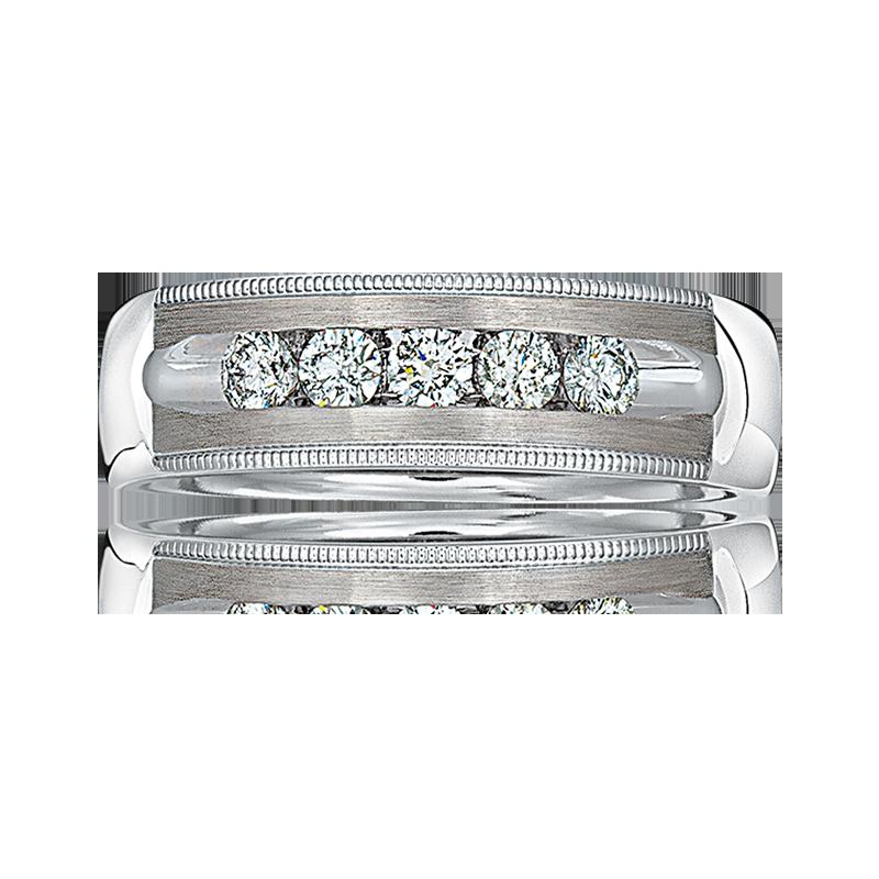 Men's Diamond 5-Stone Rope Edge Design Wedding Band in 14k White Gold