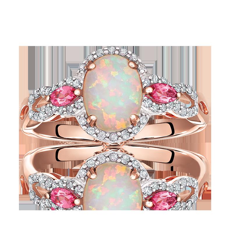 JK Crown® Oval Opal, Diamond & Pink Tourmaline Ring in Rose Gold