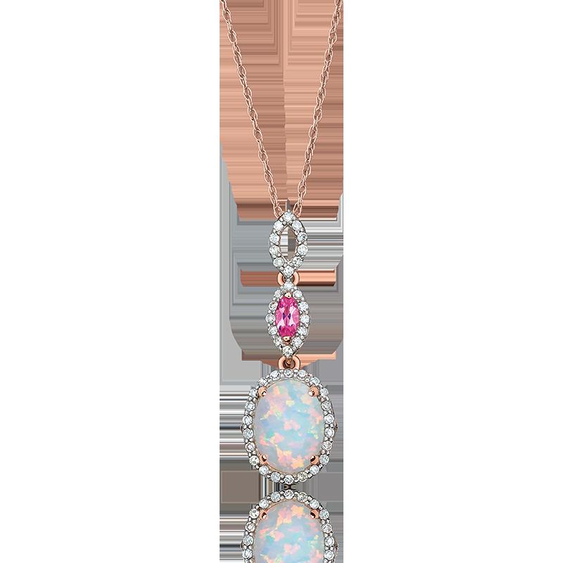JK Crown® Oval Opal, Pink Tourmaline & Diamond Necklace in Rose Gold