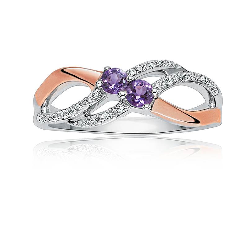 You & Me Two-Stone Amethyst & Diamond Ring