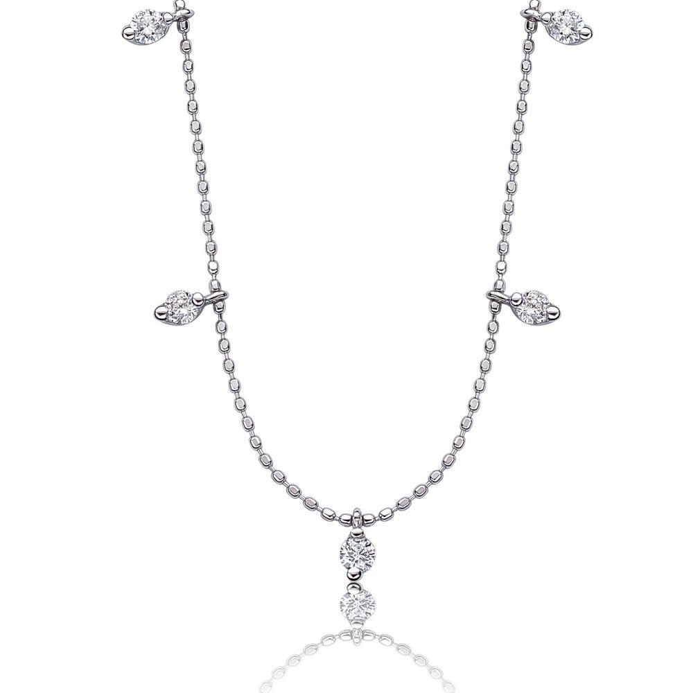 Diamond Dangle Fashion Necklace in 14k White Gold
