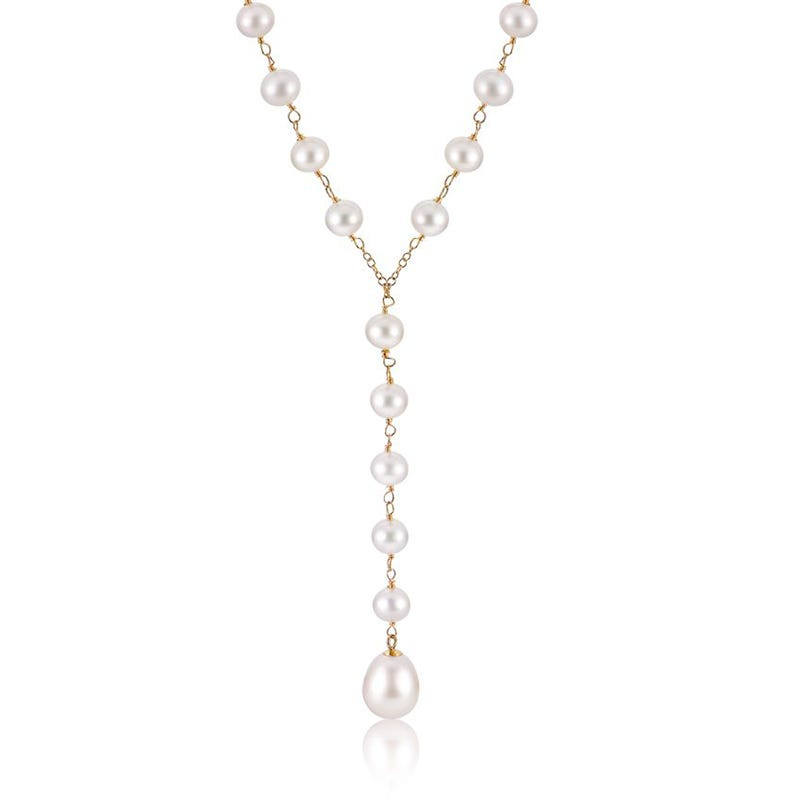 Freshwater Pearl Lariat Necklace in 10k Yellow Gold
