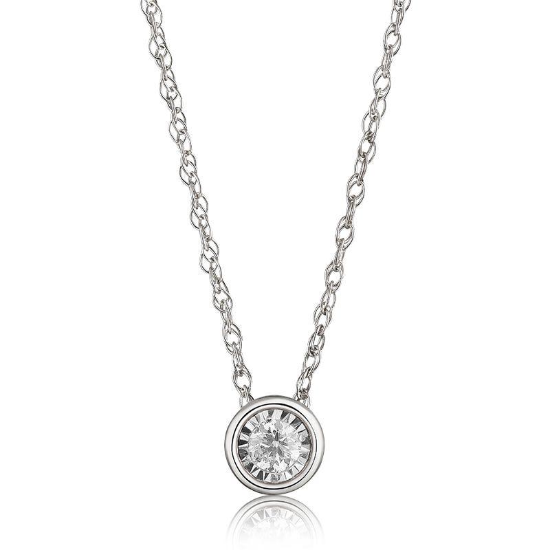 Bezel-Set Diamond 1/10ctw. (HI, I2-3) Solitaire Pendant in 10k White Gold