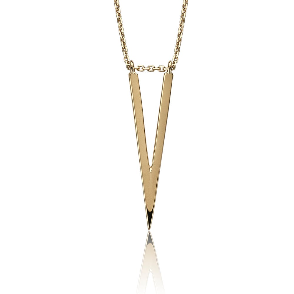 V-Shape Spike Fashion Necklace in 14k Yellow Gold