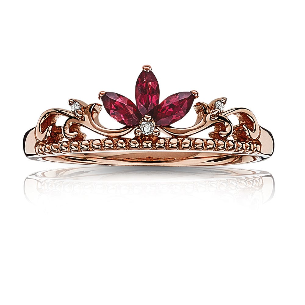 Garnet & Diamond Princess Crown Tiara Ring
