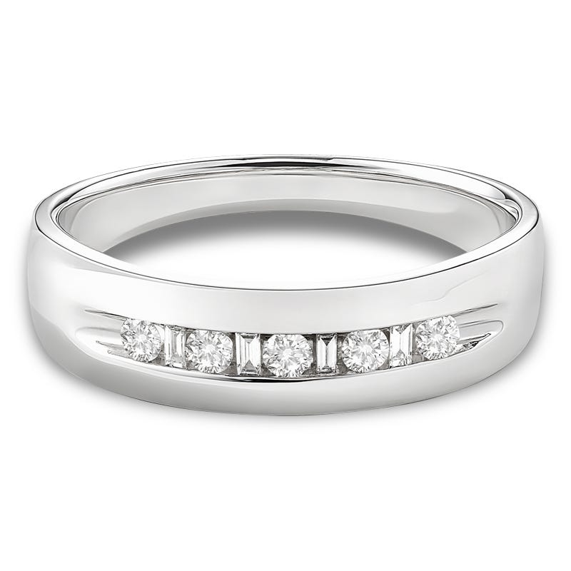 Men's Round Diamond Band 1/4ctw. in 10k White Gold