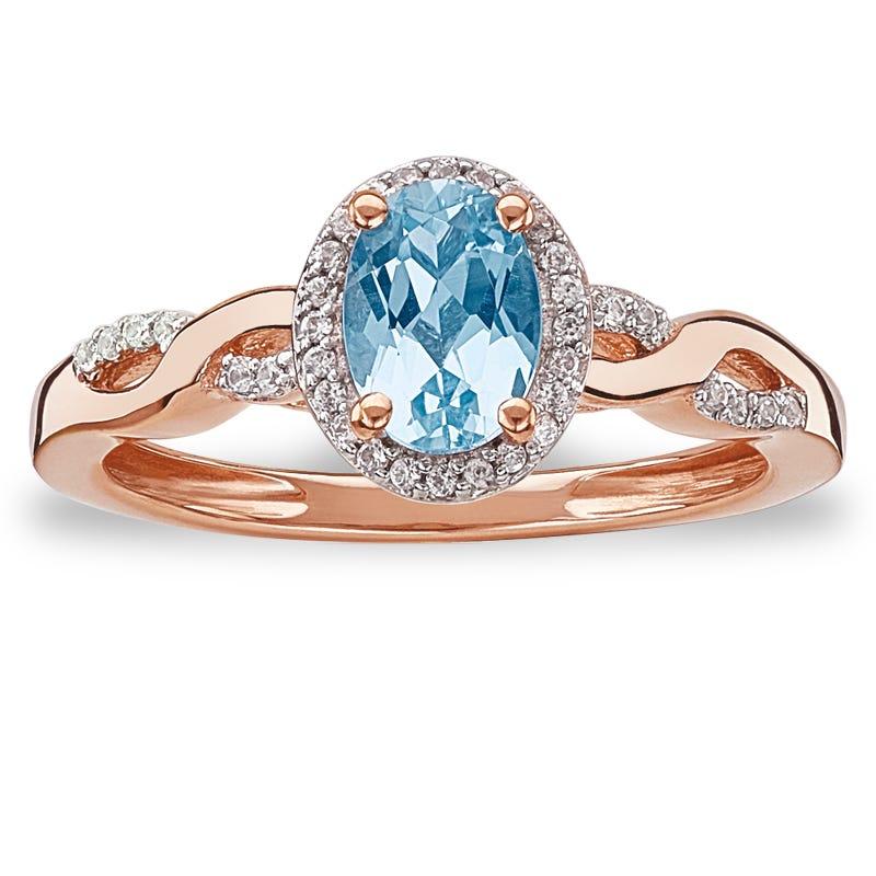 JK Crown® Oval Aquamarine & Diamond Halo Twist Ring