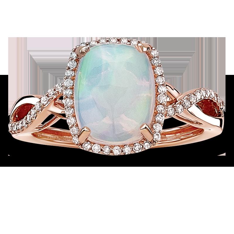 JK Crown® Opal & Diamond Halo Twist Ring in 10k Rose Gold