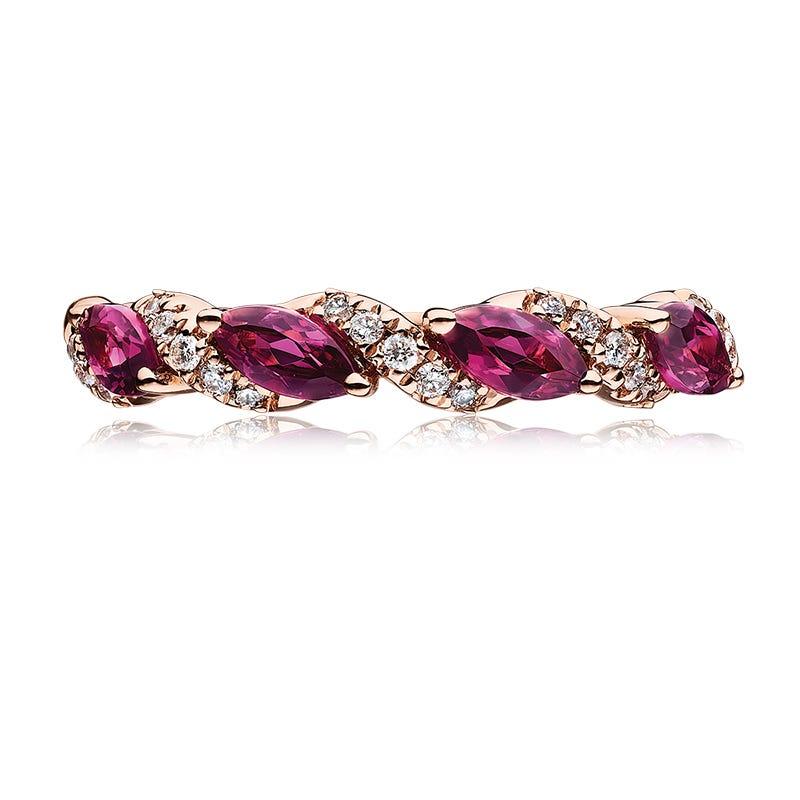 Marquise Garnet & Diamond Ring in 10k Rose Gold