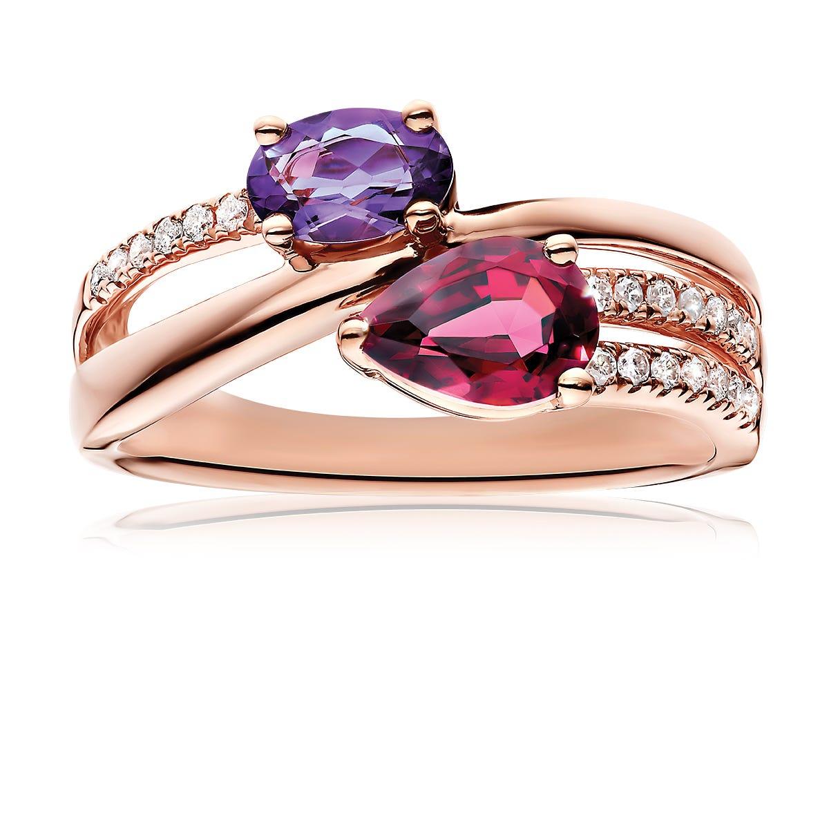 Pear-Shape Garnet & Oval Amethyst Ring in 10k Rose Gold