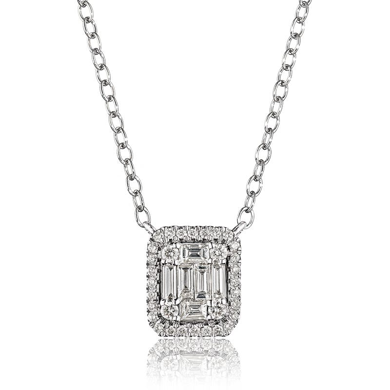 Baguette & Round Rectangle Diamond Cluster Necklace in 14k White Gold