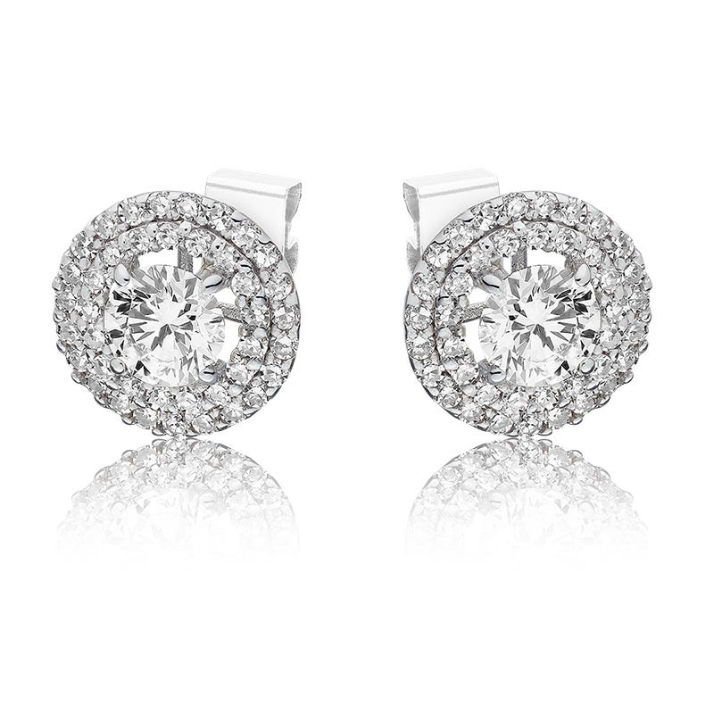 Lab-Crafted Diamond Double Halo Round Stud Earrings in 14k White Gold