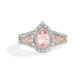 Pear-Shaped Morganite & Diamond Halo Ring in 10k White & Rose Gold