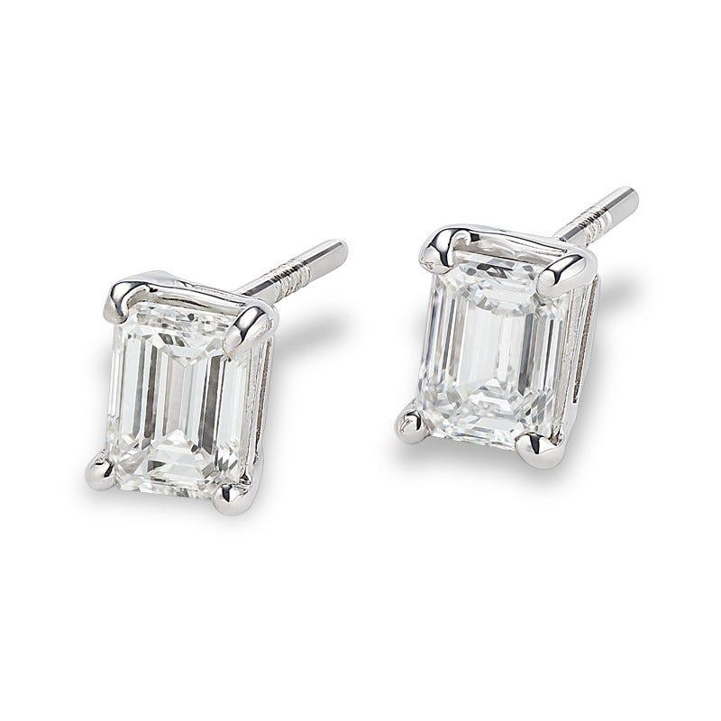 Lab-Crafted Diamond Emerald-Cut 1ctw. Stud Earrings