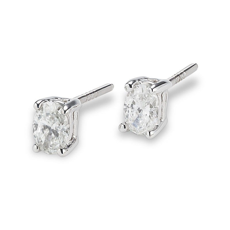 Lab-Crafted Diamond Oval 1/2ctw. Stud Earrings