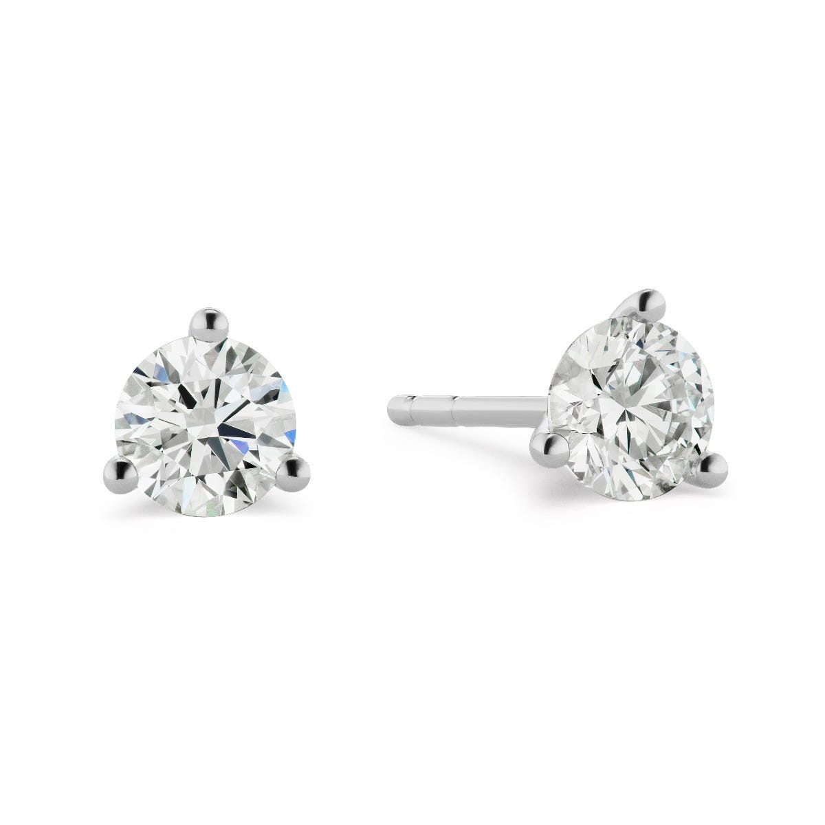 Lab-Crafted 3 Prong 2ctw. Stud Earrings in 14k White Gold