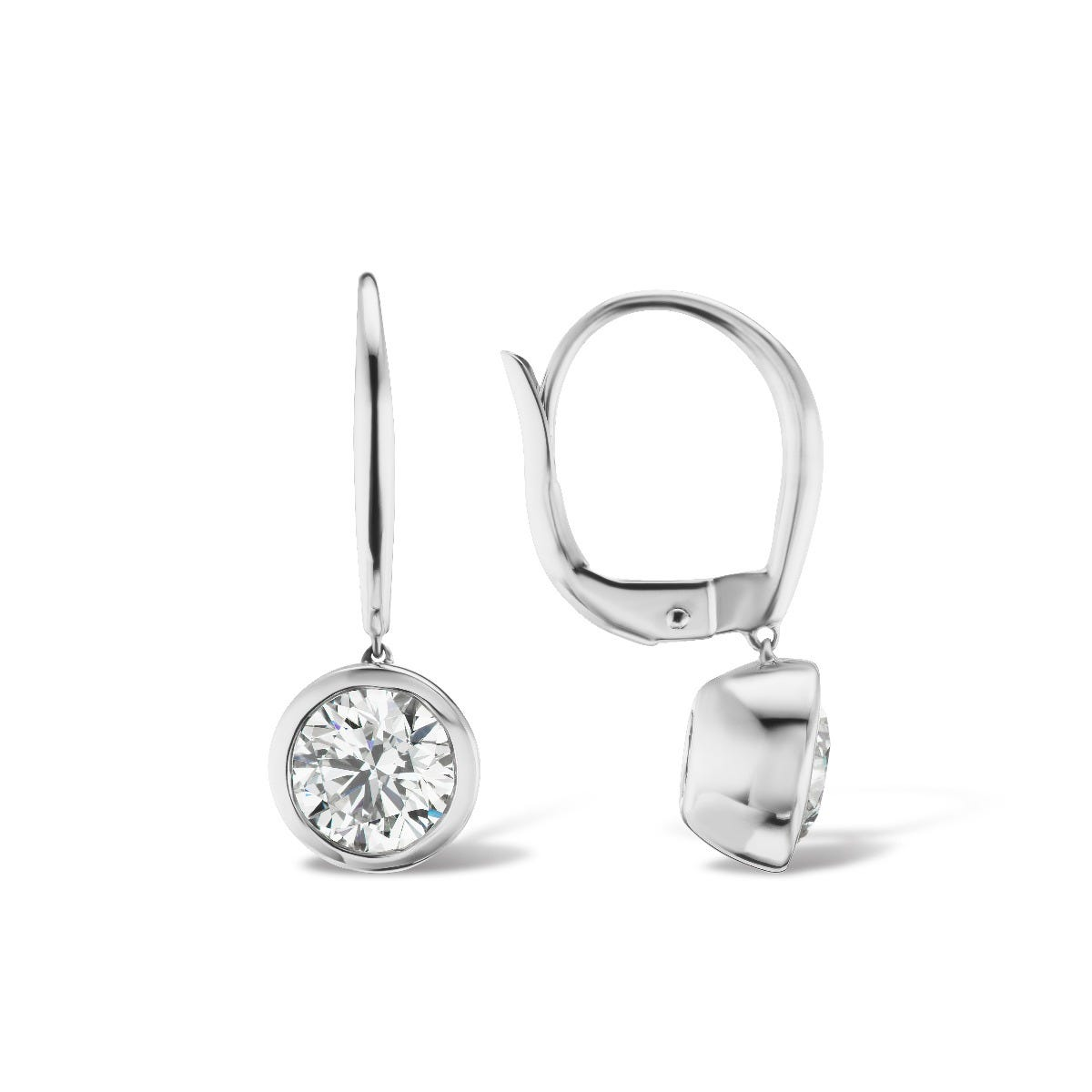 Lab-Crafted Bezel Set 1ctw. Stud Earrings in 14k White Gold